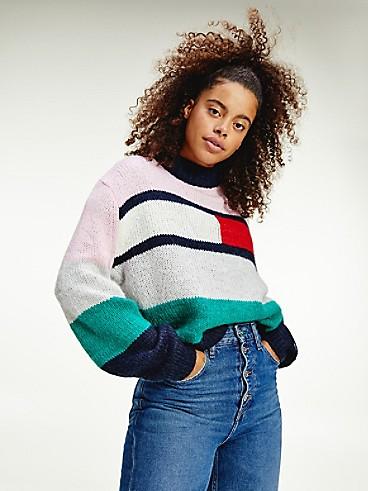 타미 진스 TOMMY JEANS Recycled Bell Sleeve Flag Sweater,ROMANTIC PINK LOGO