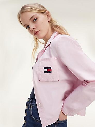 타미 진스 TOMMY JEANS Organic Cotton Badge Pocket Shirt,ROMANTIC PINK