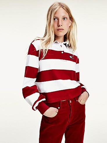타미 진스 TOMMY JEANS Organic Cotton Stripe Rugby,WINE RED / WHITE