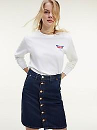 타미 진스 우먼 트라이앵클 백 티셔츠 - 화이트 TOMMY JEANS Organic Cotton Triangle Back T-Shirt dw08938