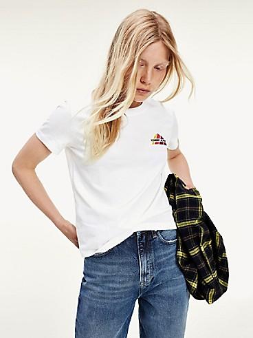 타미 진스 TOMMY JEANS Organic Cotton Mountain T-Shirt,WHITE