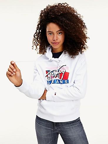 타미 진스 TOMMY JEANS Modern Logo Hoodie,WHITE