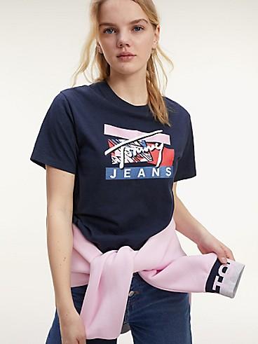 타미 진스 TOMMY JEANS Organic Cotton Signature Logo T-Shirt,TWILIGHT NAVY