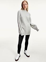 타미 진스 TOMMY JEANS Oversized Turtleneck Sweater,SILVER GREY HEATHER