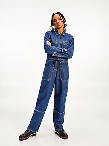 타미 진스 TOMMY JEANS Denim Zip Up Boiler Suit,MEDIUM BLUE