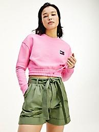 타미 힐피거 우먼 뱃지 로고 크롭 맨투맨, 오가닉 코튼 - 핑크 (화사 착용) Tommy Hilfiger Organic Cotton Cropped Badge Sweatshirt dw09797