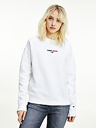 타미 진스 우먼 로고 맨투맨 - 화이트 TOMMY JEANS Logo Sweatshirt dw10495