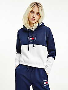 타미 진스 TOMMY JEANS Colorblock Cropped Hoodie,TWILIGHT NAVY / WHITE