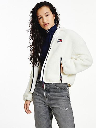 타미 진스 우먼 쉐르파 후드 자켓  - 화이트 TOMMY JEANS Recycled Sherpa Hooded Jacket dw11093