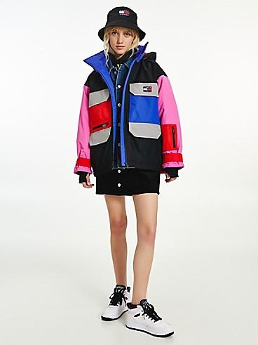 타미 진스 우먼 컬러블록 자켓 TOMMY JEANS Recycled Colorblock Jacket,vivid fuchsia / multi