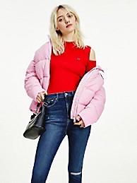 타미 진스 우먼 클래식 숏패딩 TOMMY JEANS Recycled Classic Puffer Jacket,romantic pink