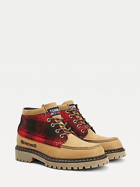 TOMMY JEANS Buffalo Plaid Leather Boot