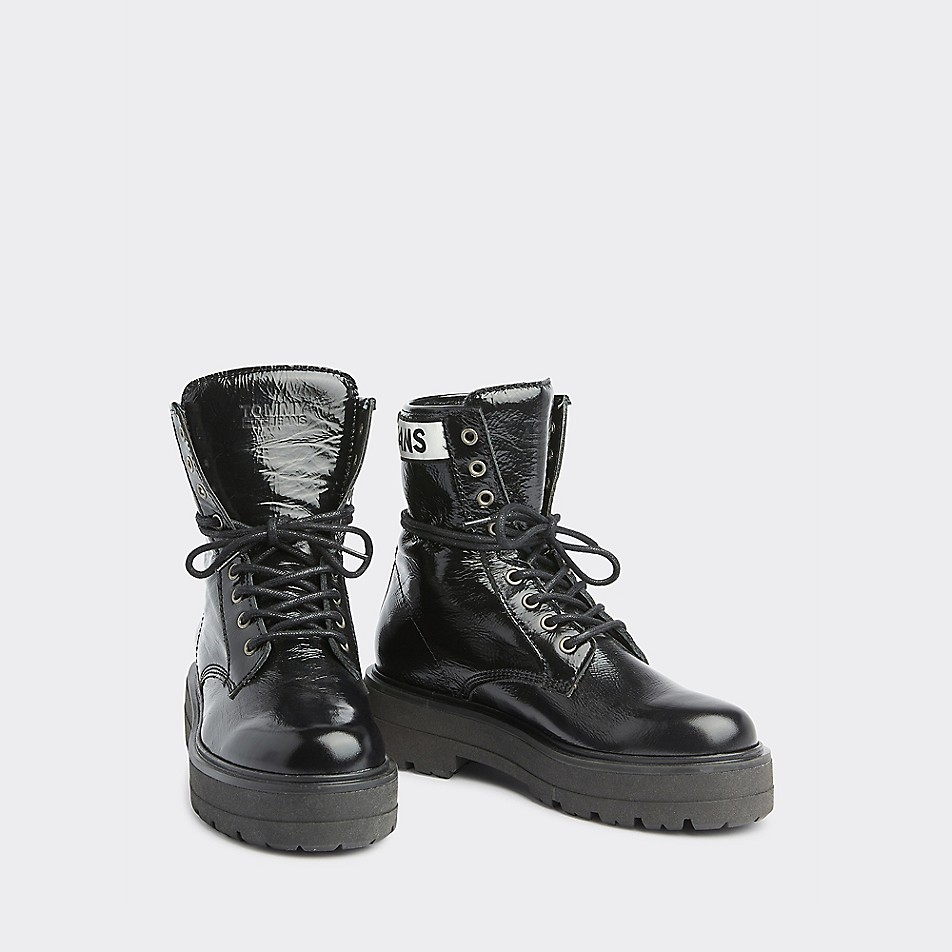 Patent Leather Lugged Sole Boot