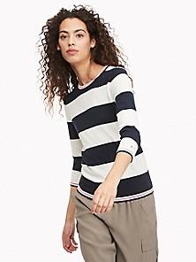 TOMMY HILFIGER Womens Black Striped Long Sleeve Hi-Lo Sweater M