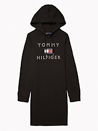 타미 힐피거 Tommy Hilfiger Essential Logo Hoodie Dress,BLACK