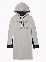 타미 힐피거 Tommy Hilfiger Essential Logo Hoodie Dress,STONE GREY HEATHER