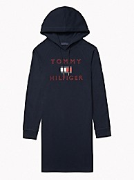 타미 힐피거 Tommy Hilfiger Essential Logo Hoodie Dress,SKY CAPTAIN