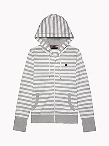 타미 힐피거 Tommy Hilfiger Essential Stripe Zip Hoodie,STONE GREY HEATHER / BRIGHT WHITE