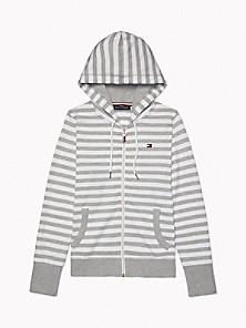 타미 힐피거 Tommy Hilfiger Essential Stripe Zip Hoodie,STONE GREY HEATHER / BRIGHT WHITE