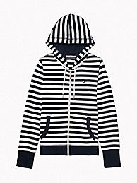 타미 힐피거 Tommy Hilfiger Essential Stripe Zip Hoodie,SKY CAPTAIN / BRIGHT WHITE