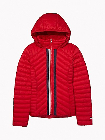 타미 힐피거 Tommy Hilfiger Hooded Packable Puffer Jacket,SCARLET