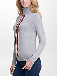 타미 힐피거 우먼 에센셜 시그니처 스트라이프 터틀넥 스웨터 - 그레이 Tommy Hilfiger Essential Signature Stripe Turtleneck J0XSN876