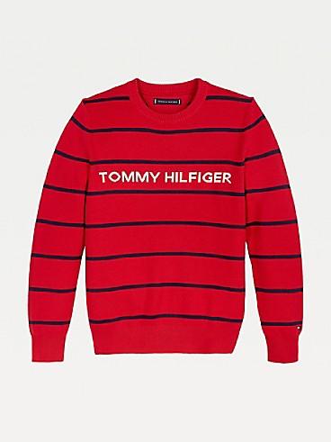 타미 힐피거 키즈 스웨터 Tommy Hilfiger TH Kids Stripe Sweater,DEEP CRIMSON STRIPE