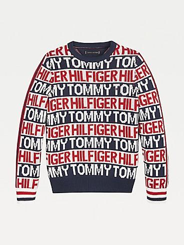 타미 힐피거 키즈 시그니처 스웨터 Tommy Hilfiger TH Kids Organic Cotton Signature Sweater,IVORY PETAL ALL OVER PRINT