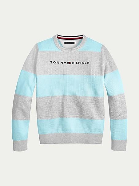 타미 힐피거 보이즈 스웨터 Tommy Hilfiger TH Kids Rugby Stripe Sweater,twilight navy