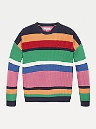 타미 힐피거 걸즈 스웨터 Tommy Hilfiger TH Kids Stripe Sweater,MULTI COLORED STRIPE