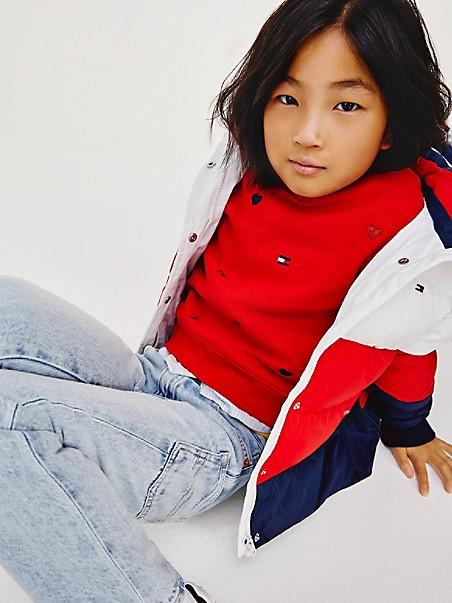 타미 힐피거 걸즈 스웻셔츠 Tommy Hilfiger TH Kids Organic Cotton Motif Sweatshirt,deep crimson
