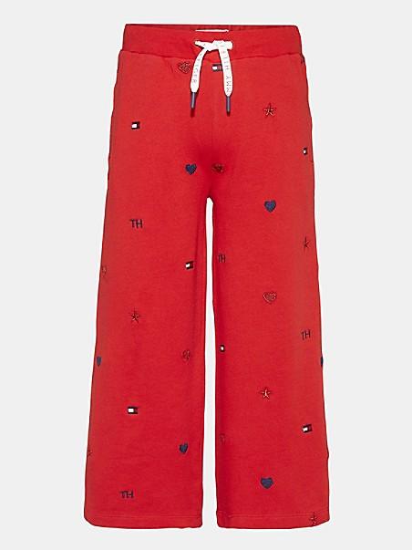 타미 힐피거 걸즈 스웻팬츠 Tommy Hilfiger TH Kids Organic Cotton Motif Sweatpant,deep crimson
