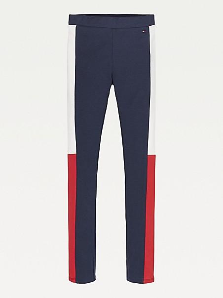타미 힐피거 걸즈 레깅스 Tommy Hilfiger TH Kids Organic Cotton Colorblock Legging,twilight navy/ deep crimson