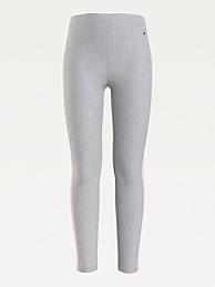 타미 힐피거 걸즈 레깅스 Tommy Hilfiger TH Kids Organic Cotton Colorblock Legging,light grey heather/ pink breeze