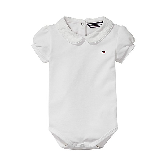 1410d0032 Final Sale-TH Baby Peter Pan Collar Onesie | Tommy Hilfiger
