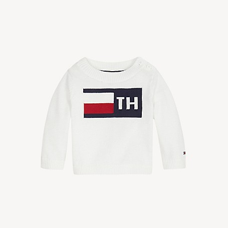 Tommy Hilfiger Baby Icon Sweater, Bright White - 0-3M