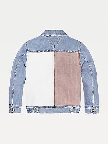 타미 힐피거 TH 키즈 컬러블록 데님 자켓 Tommy Hilfiger TH Kids Colorblock Denim Jacket,AMERICANA COLOR BLOCK