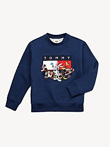 Boys M 12//14 youth stripe Tommy Hilfiger sweater long sleeve navy red off white