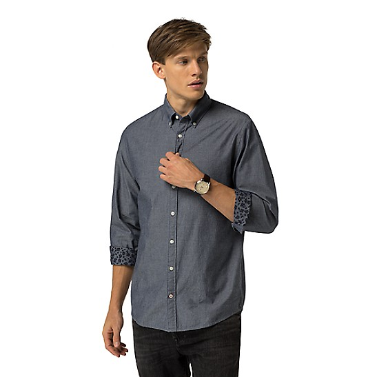 19fbfe94 Final Sale-Fitted Chambray Shirt | Tommy Hilfiger