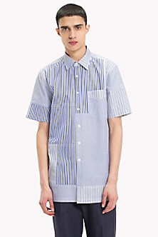 Short Sleeved Patch Stripe Shirt