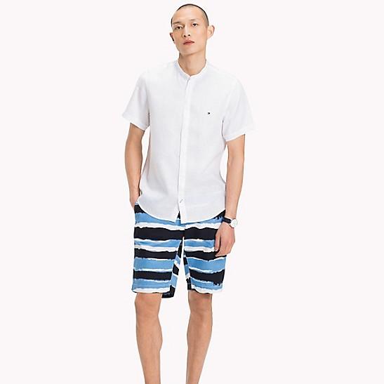 bef48c2b Linen Collarless Short-Sleeve Slim Fit Shirt | Tommy Hilfiger