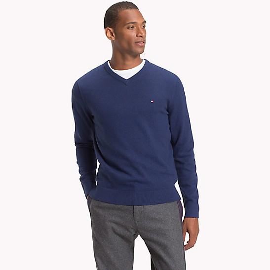 Cotton Cashmere V Neck Sweater