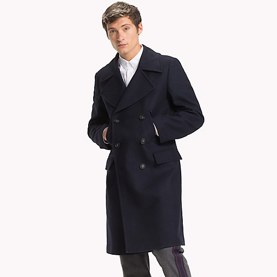 double breasted wool coat tommy hilfiger