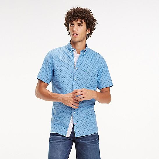 00e50f6a Regular Fit Cotton Linen Short-Sleeve Shirt | Tommy Hilfiger
