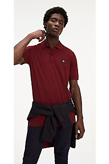 Polos Red Tommy Hilfiger Regular Fit Luxury Pique Polo Mens Rio Red | Vaping UK APP