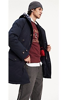 New Tommy Hilfiger Mens Quilted WOOL Hooded Duffle Coat