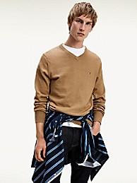 타미 힐피거 코튼 캐시미어 브이넥 스웨터 - 카멜 Tommy Hilfiger Cotton Cashmere V-Neck Sweater mw11673