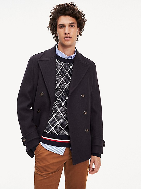 Virgin Wool Peacoat Tommy Hilfiger, Tommy Hilfiger Peacoat With Hood
