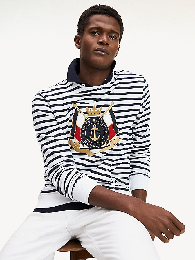 NEW TO SALE Stripe Crest Sweatshirt