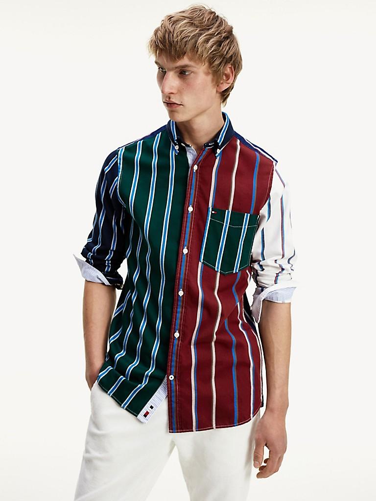 Patchwork Stripe Slim Fit Shirt